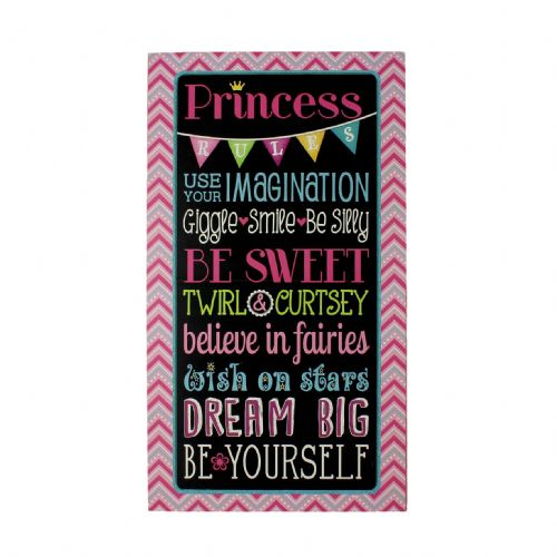 Princess Rules Wall Plaque - Pink Glittery Wall Plaque For Girls Room 'Princess Rules'